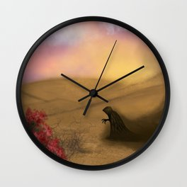 Lonely demon in the desert Wall Clock