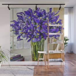 Irises in Vase Wall Mural