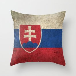 Old and Worn Distressed Vintage Flag of Slovakia Throw Pillow