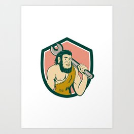 Neanderthal CaveMan With Spanner Crest Cartoon Art Print
