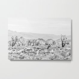Joshua Tree // Black and White Vintage Desert Landscape Cactus Mountains Metal Print