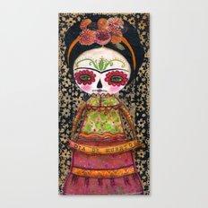 Frida The Catrina - Dia De Los Muertos Painted Skull Mixed Media Art Canvas Print