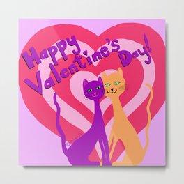 Feline Love - Happy Valentine's Day Metal Print