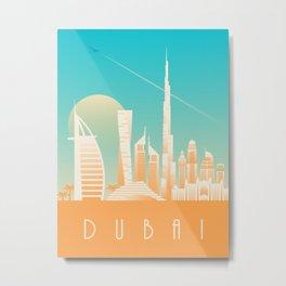 Dubai City Skyline Retro Art Deco Tourism - Day Metal Print