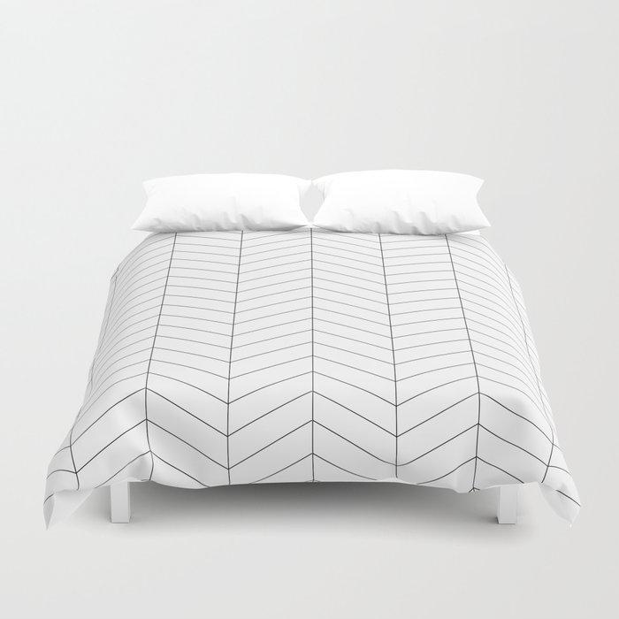 Herringbone - Black + White Bettbezug