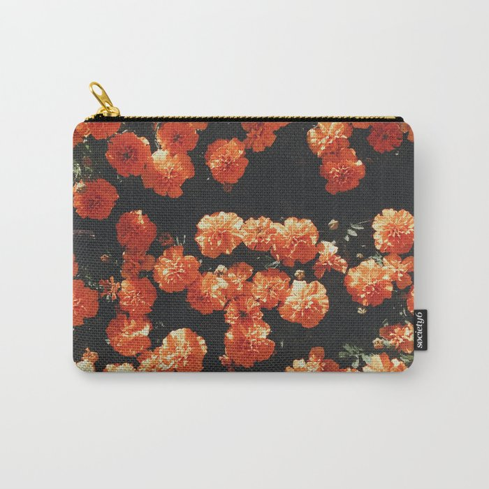 Orange flower fleurs Carry-All Pouch
