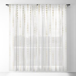 NYC Nights Gold Polka Dot Stripes Sheer Curtain