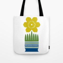 Nordic Yellow Flower Tote Bag