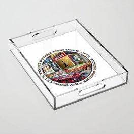 Times Square New York City (badge emblem on white) Acrylic Tray