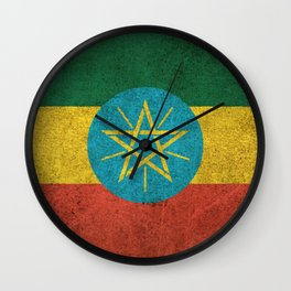Old and Worn Distressed Vintage Flag of Ethiopia Wall Clock