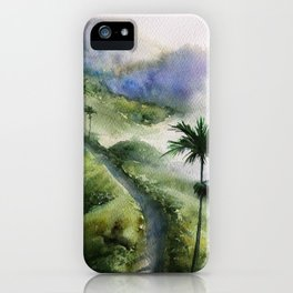 Bali Nature Watercolor Art iPhone Case