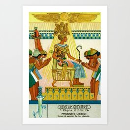 Vintage 1933 Belgian Egyptian Motif Isis Osiris Liebig's Beef Extract Lithograph Advertisement Poste Art Print