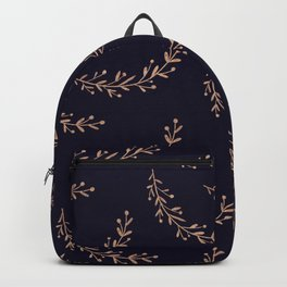 Gold Leaves and Navy Backpack