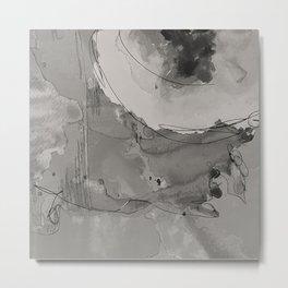 Abstract Watercolor b/w Metal Print