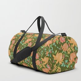 Australian Florals in Green Duffle Bag