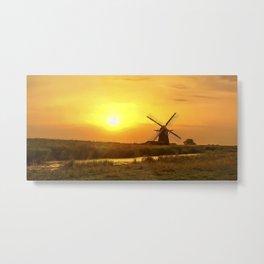 Riverside Windmill Metal Print