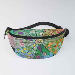 Stained glass window Flowers and Fruits Fanny Pack