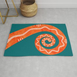 Curly Snake Tail (water paint orange on teal) Rug
