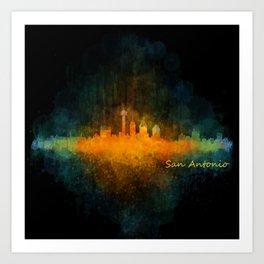 San Antonio City Skyline Hq v4 Art Print
