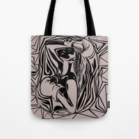 boxing Tote Bags featuring boxing by natalie shaul