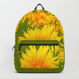 ABSTRACTED MOSS GREEN  FIRST SPRING YELLOW DANDELIONS Backpack