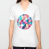 ruby V-neck T-shirts featuring Topaz & Ruby Crystal Honeycomb Cubes by micklyn