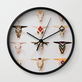 Bull Skulls - Mexican Folk Art Wall Clock