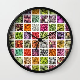 Colorful Fruits & Vegetables. Decor: Modern collage for your kitchen, home and cafe. Wall Clock