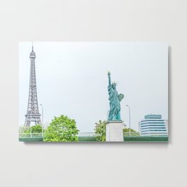 Eiffel Tower and Statue of Liberty Metal Print