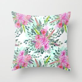 Watercolor Dahlia Bouquet Throw Pillow