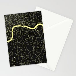 London Black on Yellow Street Map Stationery Cards