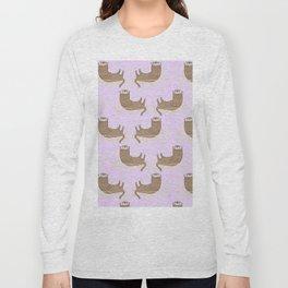 Otter Purple Pattern Long Sleeve T-shirt