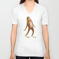 sasquatch V-neck T-shirts featuring Sasquatch by Stephanie Marie Steinhauer