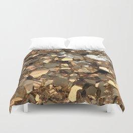Golden Pyrite Mineral Duvet Cover