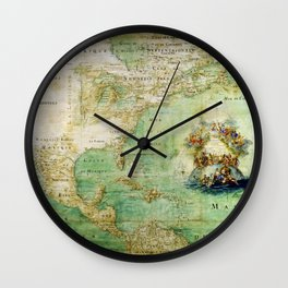 Map of North and Central America (c. 1681) Wall Clock