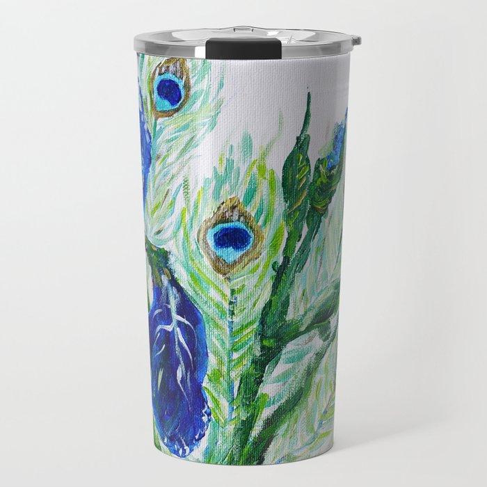 Blue iris and peacock Travel Mug