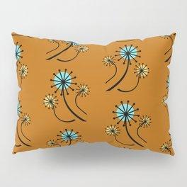 Mid Century Modern Dandelions on orange Pillow Sham