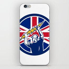 British Electrician Union Jack Flag icon iPhone Skin