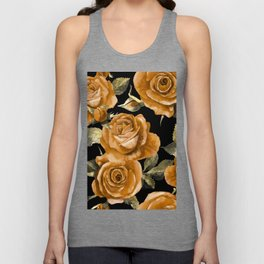 Retro Orange Roses On Black Unisex Tank Top