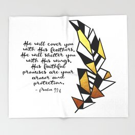 Gold Feather & Psalm 91:4 Throw Blanket
