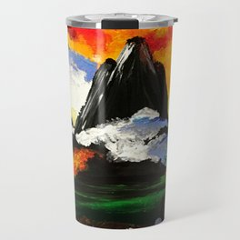 Volcano and Reflection in Lake. colorful painting Travel Mug