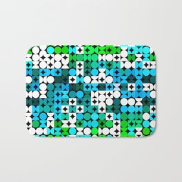 White Turquoise Teal Blue Lime Green Retro Abstract Circles Squares Pattern Bath Mat