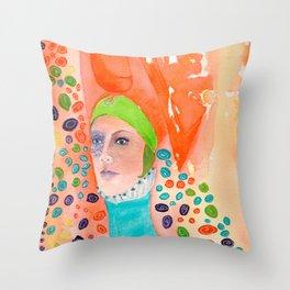 Long Neck Orange Lady Throw Pillow