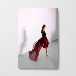 Antonio Berardi Red Dress London Fashion Week Feb 2016 Metal Print