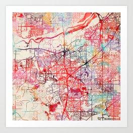 Burnsville map Minnesota MN Art Print