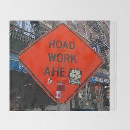 Sign Road Work Ahead Throw Blanket