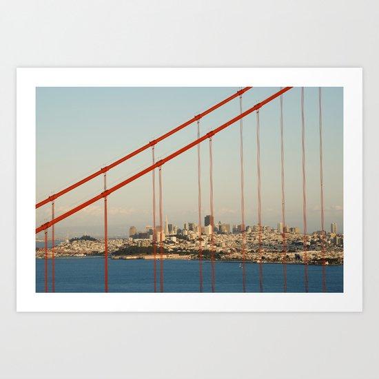 Golden San Gate Francisco Bridge Art Print