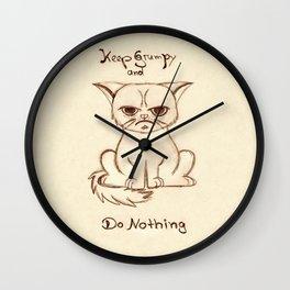 Keep Grumpy and Do Nothing - Cat drawning Wall Clock