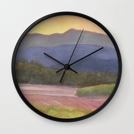Setting sun over cane field in country NSW Wall Clock
