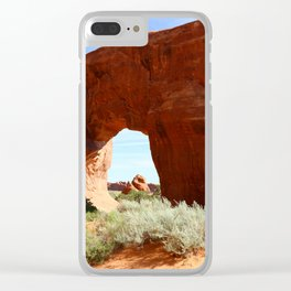 At The End Of The Trail - Pine Tree Arch Clear iPhone Case